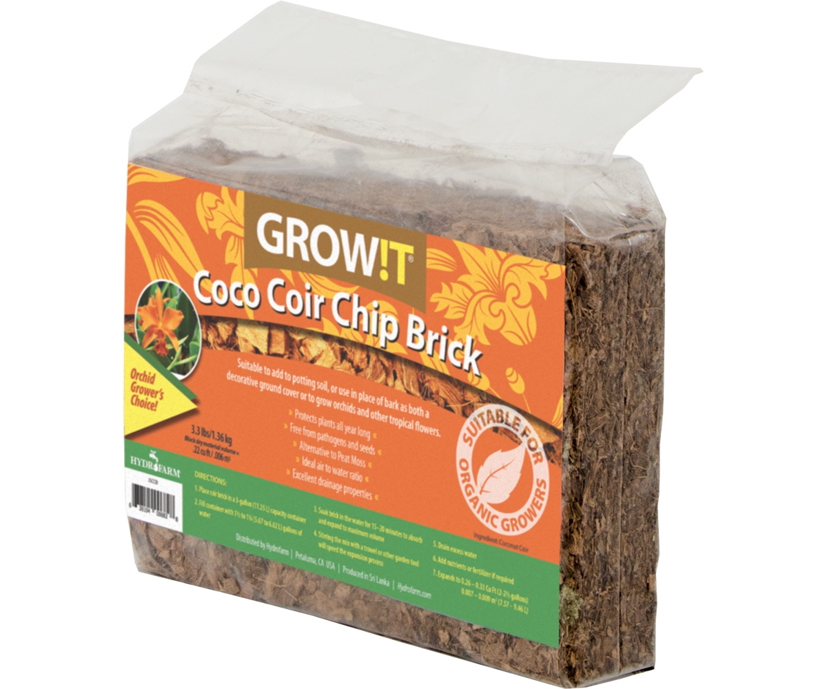 GROW!T Coco Coir Chip Brick (pack of 3) | Bustan Hydroponics Grow