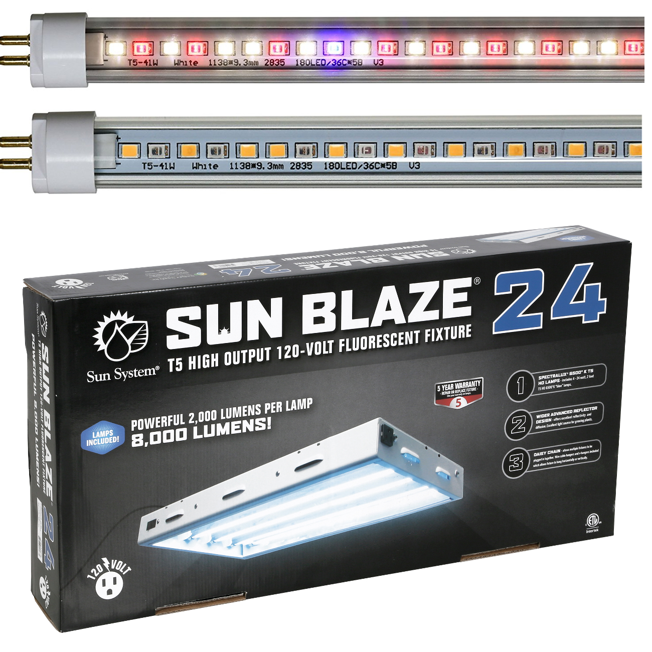 Sunlight Supply Un Blaze Ho T5 Grow Light Fixture 2ft 4 Lamps
